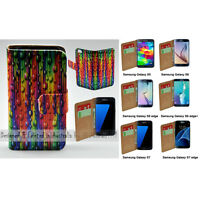 For Samsung Galaxy Series - Teardrop Straw Print Wallet Mobile Phone Case Cover
