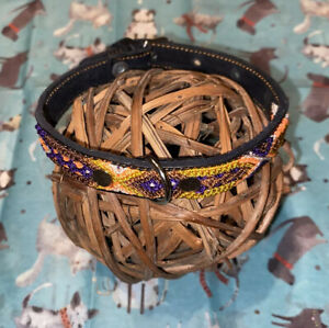 Dog Collar Genuine Leather Small Breed 100% Colorful Handwoven Silk Thread