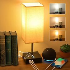 3-Color Touch Control Bedside Lamp with 3 USB Port and...