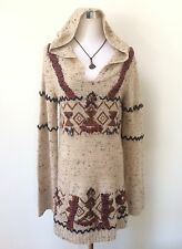 FREE PEOPLE Aztec Tribal Boho Hooded Oatmeal Knit Alpaca Blnd Sweater Jumper M