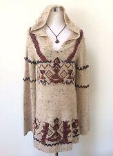 FREE PEOPLE Aztec Tribal Boho Hooded Oatmeal Knit Alpaca Blnd Sweater Jumper M