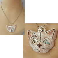 Necklace Steampunk Cat Pendant Jewelry Hand Sculpted Silver Cosplay New Clay