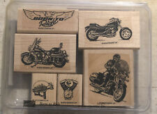 Rubber Stamp Used ~ Stampin Up set of 6 Born to Ride * Motorbike