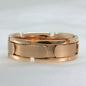 18K Rose Block Style Wedding Band Mens size 10 Comfort fit 7mm Wide