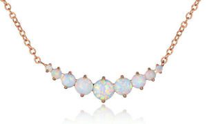 Sevil Rose Gold Plated Created Opal Graduated Necklace Jewelry