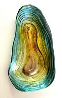 Art Glass Free Form Tray/Bowl in Iridescent Colors Sparkling with a Silver Back