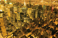 (LAMINATED) NEW YORK POSTER (91x61cm) MANHATTAN AT NIGHT NEW LICENSED ART