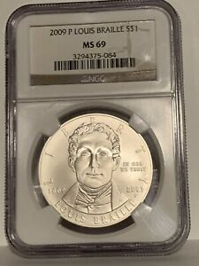 2009 P Louis Braille Commemorative Silver Dollar MS 69 by NGC!