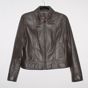 Womens MARKS AND SPENCER Casual Brown Leather Biker Jacket Size UK 14