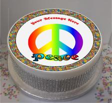 """Novedad Personalizado signo de la Paz CND 7.5"""" Comestible Glaseado Cumpleaños Cake Topper"""