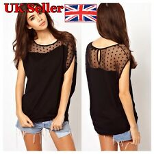 Women Summer Polka Dots Net Yarn Stitching Asymmetrical Short Sleeve Tops Blouse