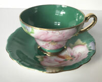 M/K Porcelain Japan Beautiful Pink Flower On Green Cup & Saucer With Gold Trim