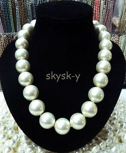 """RARE Huge 16mm White South Sea Shell Pearl Necklace 18"""" AAA+"""
