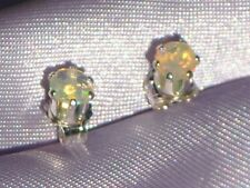 LUSTROUS ROUND PETITE 4MM  OPAL STUDS- .50CTW --STERLING SILVER STUDS.