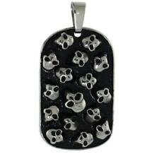 Stainless Steel MULTI SKULL DOG TAG Pendant, Free Bead Ball Chain