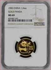 1982 CHINA 1/4 oz GOLD PANDA NGC MS 69