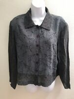 top blouse large l womens sheer long sleeves gray black floral print