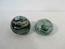 Glass Paperweights Swirled Multi-colored Green White Hand Made Pontil Set of 2