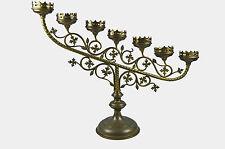 Antique 7 Candle Brass Gothic Church Altar Candlestick / Candelabrum, Flemish.