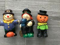 3 Vintage Wax Halloween Figures Witch Scarecrow Pumpkin