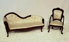 Dollhouse Furniture Victorian Style Chaise Lounge and Chair
