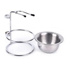 metal alloy shaving safety brush holder travel set razor stand + soap bowl ME