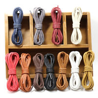 60-180 cm Unisex Leather Waxed Round Shoelace String Casual Colorful Shoe Lace