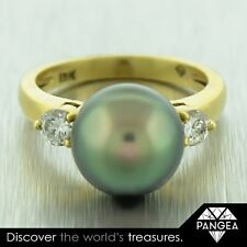 MIKIMOTO 18k Solid Yellow Gold 11.5mm Tahitian Pearl 0.44ctw Diamond Ring