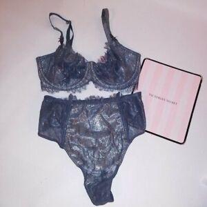 Victoria Secret Bra Set 32DDD Push Up Without Padding Small High Waist Thong