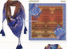 "Laurel Burch SCARF Wrap Azul Blue Cats Shoulder Waist 35"" Square Tassels NEW"
