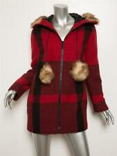 MULBERRY Red Black Check Fur-Trim Hood Parka Eskimo Coat Jacket 2-6-36 NEW