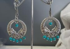 Silver & Turquoise Bead Hoop Earrings