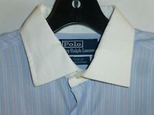 Ralph Lauren Polo 15x33 Mens Blue White French Striped Shirt ITALY e39 Nordstrom