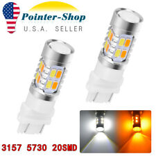 2x 3157 5730 20LED Dual Color Amber/White Switchback Turn Signal Stop LED Bulbs