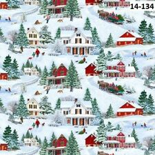 Bringing Home Christmas Holiday cotton quilt fabric by Wilmington Scenic Village