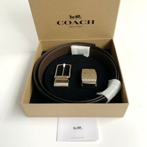 Coach * Men's Belt Box Set F65186 AQ0 Smooth Leather Reversible Black x Brown