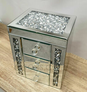 Gatsby Mirror Crushed Crystal Silver Diamante Jewellery Box Bevel Glass 3 Drawer