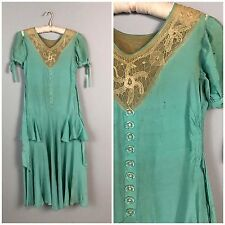 AS IS Vintage 1930s Green Silk Tan Lace Ruffled Tie Flapper Dress XS S/S