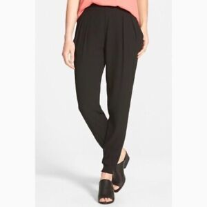 Eileen Fisher Sz 2X Black Washable Silk Crepe Pull On Zip Ankle Jogger Pants