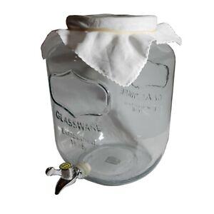 Huge 8lt Kombucha Jar, Plastic Tap, Cloth Cover, Continuous Brew