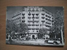 MAJESTIC HOTEL, BARCELONA POSTCARD, CARS AND PEOPLE, BLACK AND WHITE POSTCARD