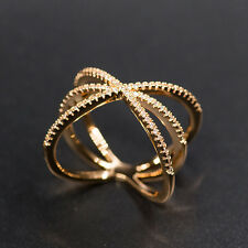 18k Rose Gold GP Ring made w Swarovski Crystal Pave Stone Cross Index Finger 9