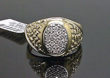 10K Men's Yellow Gold Nugget Ring With 0.23CTW Diamond /Band