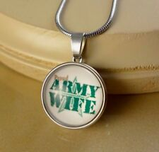 ARMY WIFE 18mm SNAP BUTTON CHARM pendant w/ steel necklace gift for girls women
