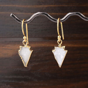 Arrowhead Shape Natural White Sugar Druzy Gold Electroplated Drop Dangle Earring