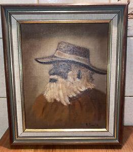 """Vintage Framed Oil Painting Titled""""Old Aboriginal Stockman """" Signed Framed"""