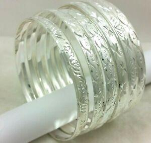 Real 14k White Gold Filled Slip on Seamless Diamond Cut Bangle Bracelet Silver