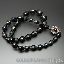 GRADUATED BEADED GENUINE BLACK BAROQUE PEARL NECKLACE SILVER CLASP 18""