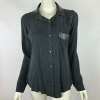 Rails Leather Trim Collared Blouse Top Long Sleeve Snap up Pocket Black Women M