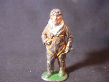 Old Vtg Lead Military Paratrooper Parachute Soldier Figurine Figure Train Garden